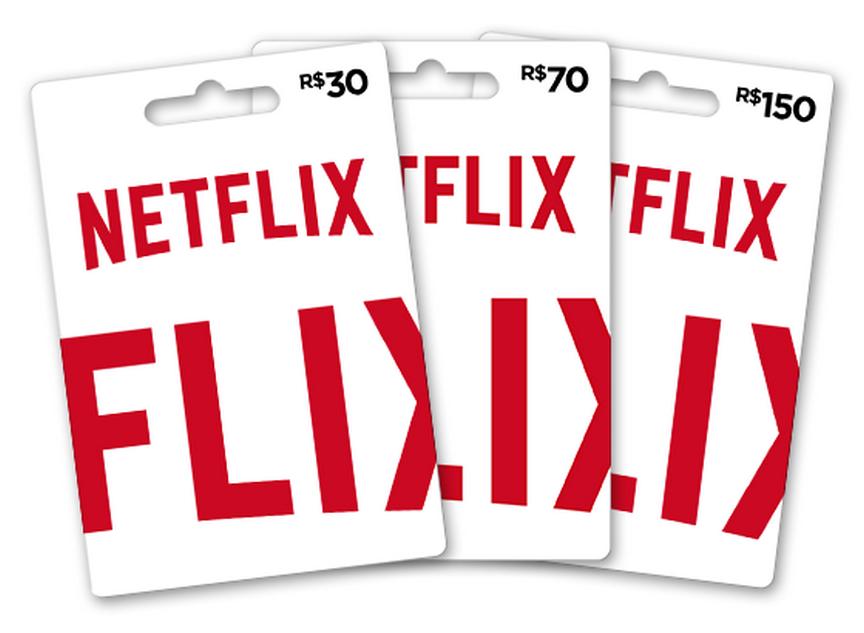 Cartão pré-pago Netflix ou vale presente. Cartões de R30, R$70 e R$150